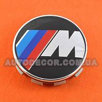 Колпачки заглушки на литые диски BMW М (68.5/65/10) черные/хром 36136783536