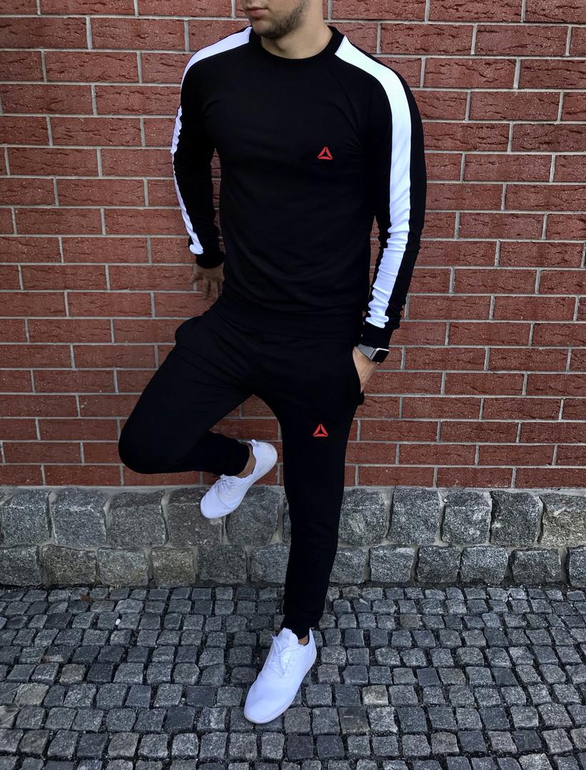 Спортивный осенний костюм Reebok black/white топ реплика