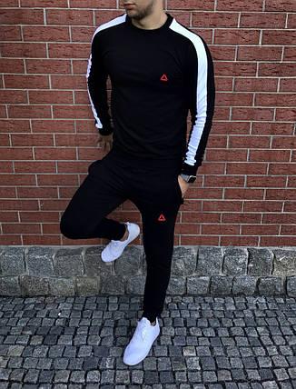Спортивный осенний костюм Reebok black/white топ реплика, фото 2