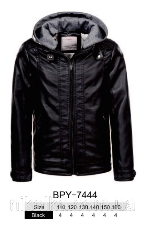 Куртки кожзам на меху для мальчиков оптом, Glo-story, 110-160 рр., арт.BPY-7444