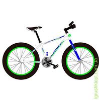 "Велосипед сталь.рама 17"", Shimano 21SP, алюм.DB, алюм.обод, 26""*4.0, бел"