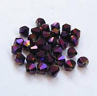 Биконус 4 мм матовый фиолетовый металлик  (80-85 шт в нитке)