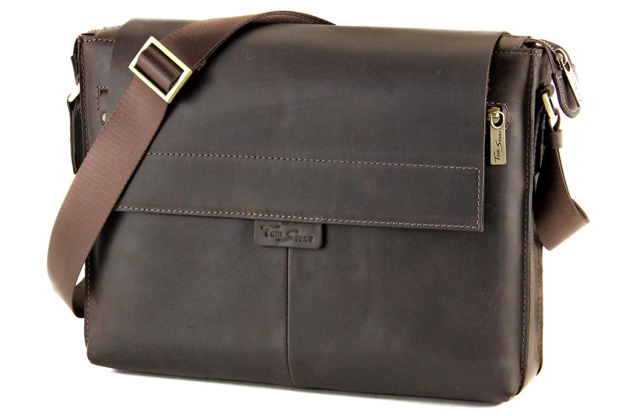 f2060b37748f Большая мужская кожаная сумка через плечо Tom Stone Коричневая от ...