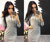 Теплое платье с молнией на груди