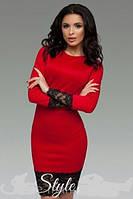 Платье женское футляр с  широким кружевом и  длинным рукавом