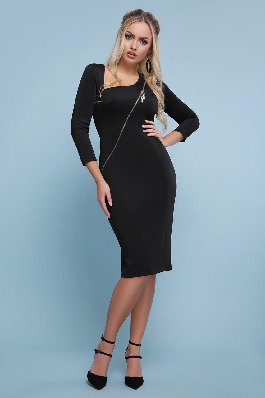 Осеннее платье стильное миди по фигуре рукав три четверти из дайвинга черное