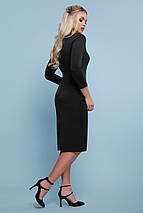 Осеннее платье стильное миди по фигуре рукав три четверти из дайвинга черное, фото 2