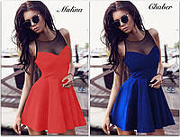 Платье женское стильное модное красивое декольте сеточка акция 42-50Р