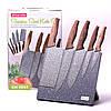 Набор ножей Kamille 6 предметов из нержавеющей стали на подставке с мраморным покрытием KM-5047, фото 4