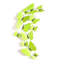 Салатовые бабочки на магните - 12шт.