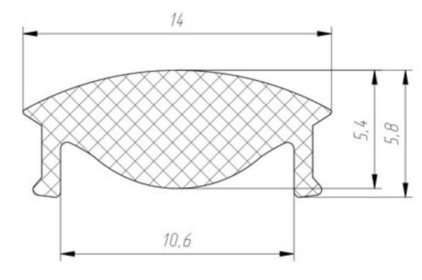 Екран-лінза фокусуюча 30° ЛРК алюмінієвих профілів  ЛП7, ЛПВ7, ЛП12, ЛПВ 12, ЛПУ світлодіодних стрічок 7227