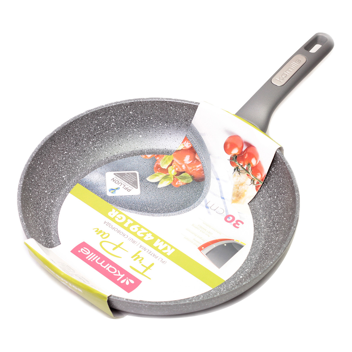 Сковорода Kamille 30 см с гранитным антипригарным покрытием, большая сковорода без крышки