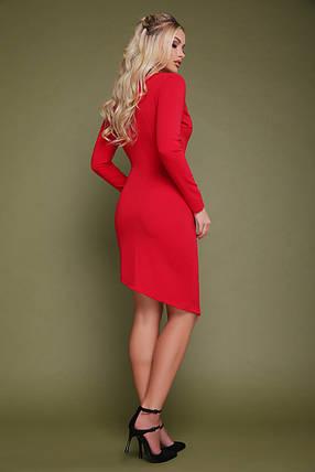Стильное платье осеннее на запах асимметричное по фигуре с длинными рукавами красное, фото 2