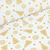 Польская бязь Золотые елочки на белом, фото 1