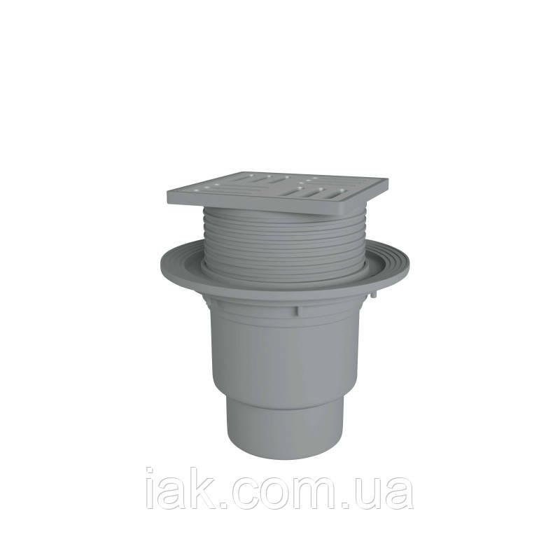 АНИ Трап (TA1712) верт., регулируемый  выпуск 110 мм с нерж. решеткой 15x15 см