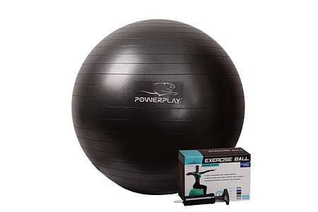 М'яч гімнастичний PowerPlay 4001 Чорний  (65 см.) [+ насос]