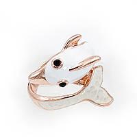 """Кольцо """"Дельфин"""" белая эмаль"""