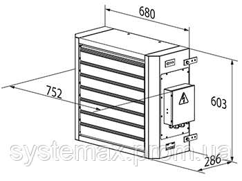 Габаритные размеры ВЕНТС АОЕ 15 (электрический воздушно-отопительный агрегат)