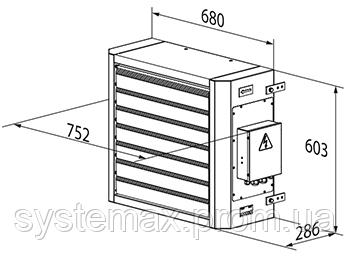 Габаритные размеры ВЕНТС АОЕ 12 (электрический воздушно-отопительный агрегат)