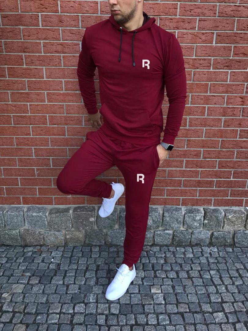 Спортивный осенний костюм Reebok bordo с капюшоном топ реплика