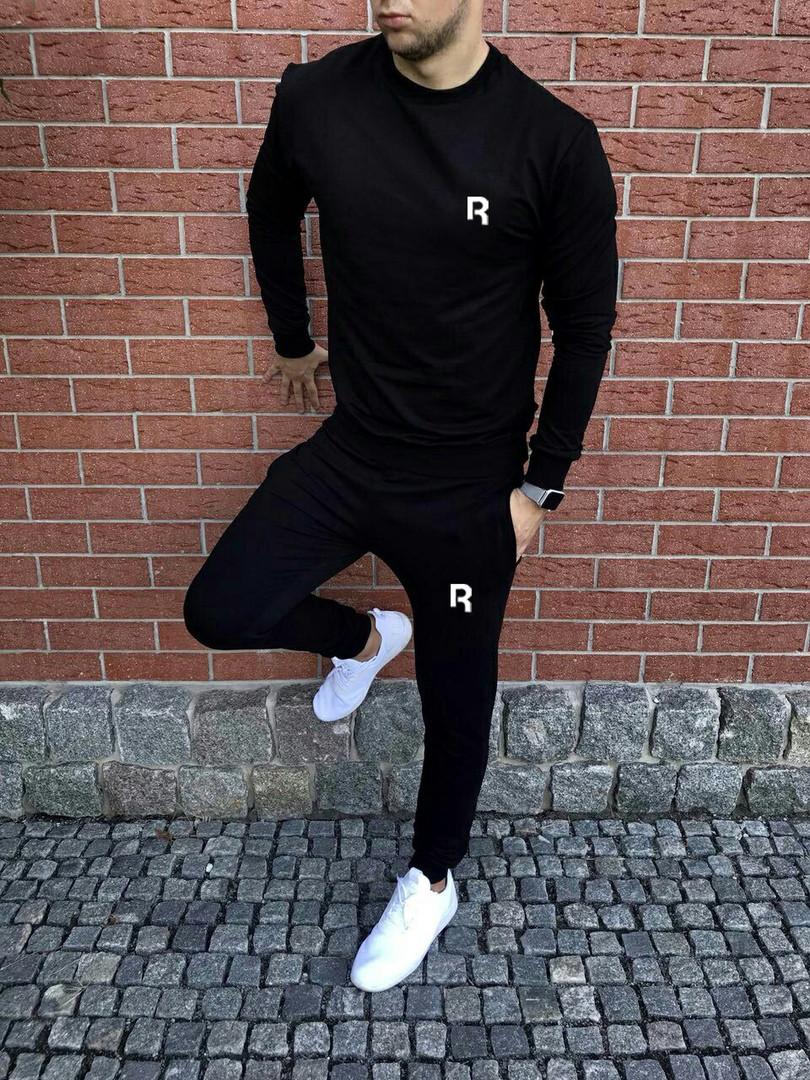 Спортивный осенний костюм Reebok black топ реплика