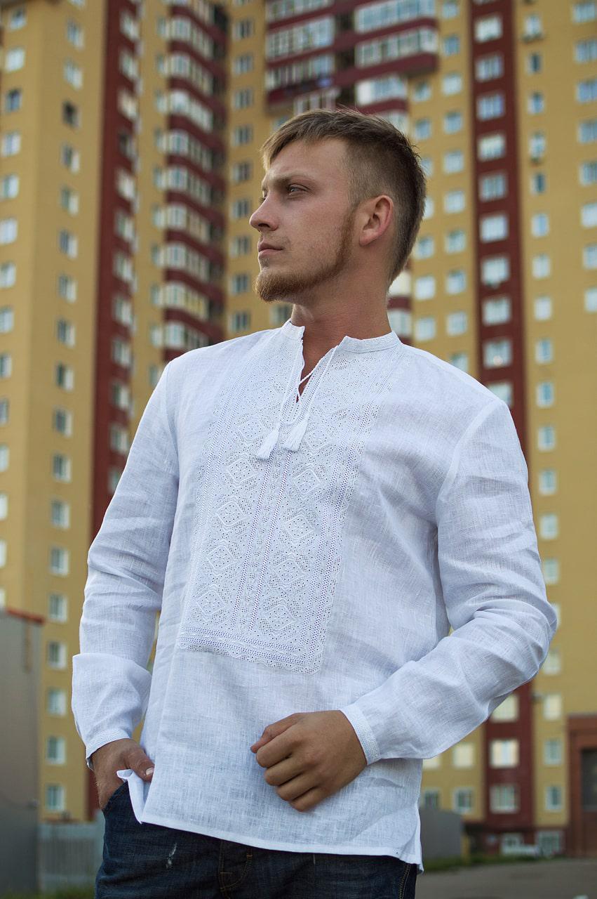 fdd637231babac Вишиванка чоловіча біла лляна розміри в наявності, цена 1 599 грн., купить  Яремче — Prom.ua (ID#770648005)