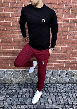 Спортивный осенний костюм Reebok black/bordo топ реплика, фото 2