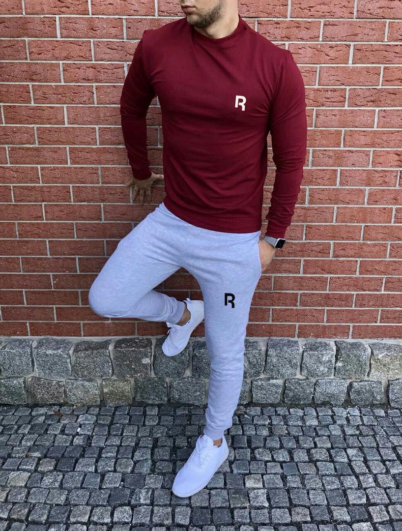 Спортивный осенний костюм Reebok bordo/grey топ реплика