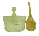 Набор Greus сосна (шайка 4 л + черпак) с пластиковой вставкой для бани и сауны, фото 2