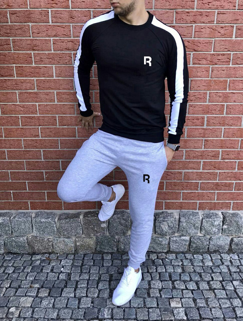 Спортивный осенний костюм Reebok black/white/grey топ реплика