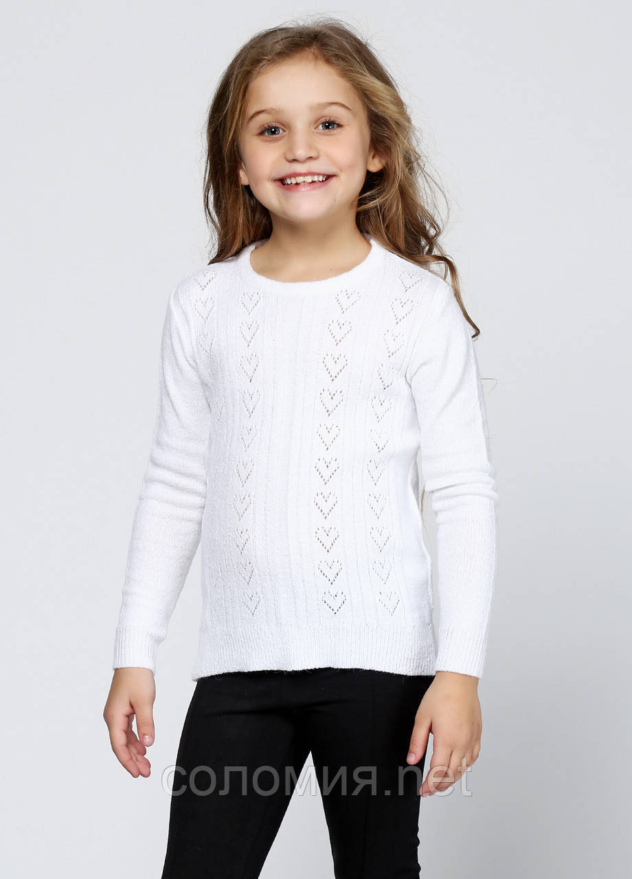 Білий ажурний светр для дівчинки 122-152р