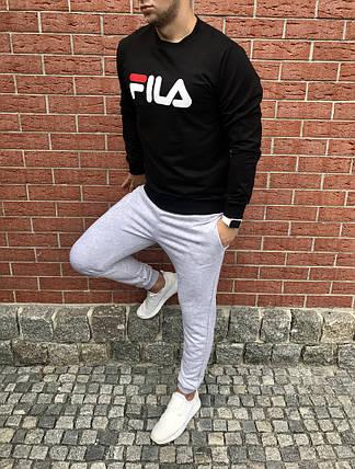 Спортивный осенний костюм Fila black/grey топ реплика, фото 2