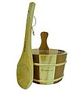 Набор Greus сосна/кедр (шайка 4 л + черпак) с пластиковой вставкой для бани и сауны, фото 2