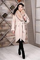 Женское зимнее пальто с мехом модное арт Belinda