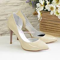 Женские лаковые туфли на шпильке, цвет бежевый, фото 1