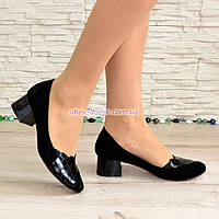 Туфли женские замшевые на невысоком каблуке, декорированы лаковыми вставками , фото 1