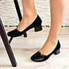 Туфли женские замшевые на невысоком каблуке, декорированы лаковыми вставками , фото 5
