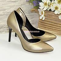 Женские туфли на шпильке, из натуральной кожи бронзового цвета, фото 1