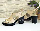 Босоножки кожаные на широком каблуке, цвет бежевый, фото 4