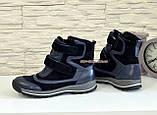 Ботинки подростковые для мальчиков, на липучках. Натуральная кожа и замша синего цвета, фото 4