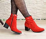 Ботинки женские демисезонные на невысоком каблуке, натуральная замша и лак красного цвета, фото 2
