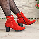 Ботинки женские демисезонные на невысоком каблуке, натуральная замша и лак красного цвета, фото 3