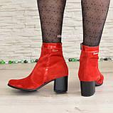 Ботинки женские демисезонные на невысоком каблуке, натуральная замша и лак красного цвета, фото 7