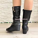 Женские демисезонные ботинки на невысокой платформе, натуральная черная кожа, фото 2