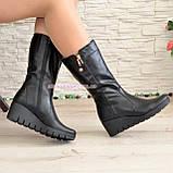 Женские демисезонные ботинки на невысокой платформе, натуральная черная кожа, фото 3