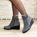 Ботинки женские демисезонные на платформе, натуральная замша и кожа серого цвета, фото 3