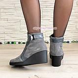 Ботинки женские демисезонные на платформе, натуральная замша и кожа серого цвета, фото 4