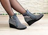 Ботинки женские демисезонные на платформе, натуральная замша и кожа серого цвета, фото 5