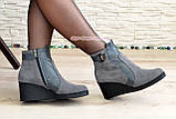 Ботинки женские демисезонные на платформе, натуральная замша и кожа серого цвета, фото 6