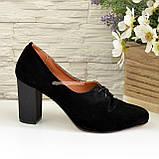 Туфли женские на высоком каблуке, из натуральной замши черного цвета, фото 2